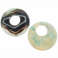 50mm Green Agate Donut Beads (1PC)
