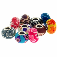 MIOVI™ Polymer Clay Beads w/Silver Plated Grommet,15x10mm Mixed Pattern Rondelle Beads (10PK)