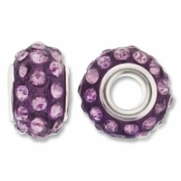 MIOVI™ Rhinestone Beads 15x9mm Large Hole Lt Amethyst Rhinestone Purple Resin Rondelles (1PC)
