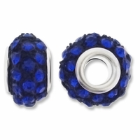 MIOVI™ Rhinestone Beads 15x9mm Large Hole Sapphire Rhinestone Black Resin Rondelles (1PC)
