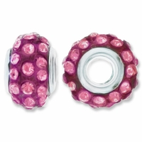 MIOVI™ Rhinestone Beads 15x9mm Large Hole Rose Rhinestone Amethyst Resin Rondelles (1PC)