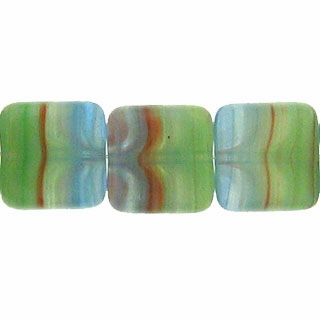 Czech Hurricane Glass 9mm Flat Square Blue Green  (25PK)