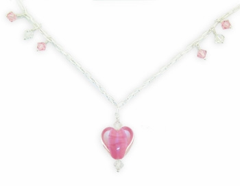 18mm Rose Satin Heart Necklace