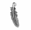 Antiqued Silver Feather Charm