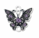 Silver Plated 17mm Tanzanite Butterfly Link (1PC)