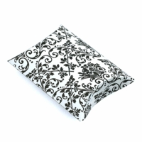 3.5x3x1 Inch White w/ Black Damask Print Pillow Box