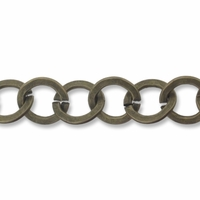 Antiqued Brass 9x9mm Flat Ring Chain (1FT)