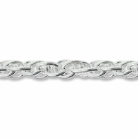 Silver Plated 6x4mm Twisted Oval Rope Chain (1FT)