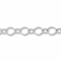 Silver Plated 6x4mm Figaro Chain (1FT)