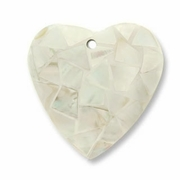 45mm Heart Nat. White Kabibe Pendant