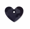 18mm Jet Swarovski Crystal Truly in Love Heart