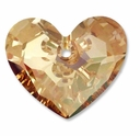 28mm Crystal Golden Shadow Swarovski Truly in Love Heart