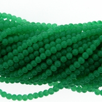 4mm Green Jade Round Glass Beads 16 inch Strand