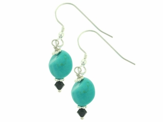 Turquoise and Jet Earrings