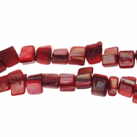 Red 8x6mm Natural Nugget Mother of Pearl  Beads 16 Inch Strand