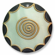 55mm Colored Round Kabibe Shell Pendant
