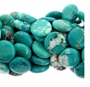Blue-Green Turquoise Howlite 18mm Round Disc  Beads 15 Inch Strand