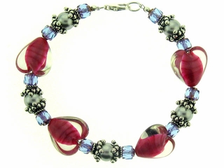 Bali Silver and Ruby Heart Bracelet