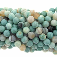 Amazonite Matrix 8mm Faceted Round Beads 16 Inch Strand
