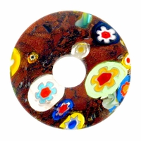 Goldstone Millefiori Glass 29mm Donut (1PC)