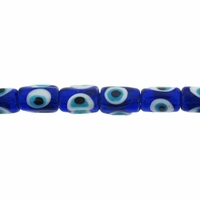 Evil Eye 15mm Blue Tube Lampwork Beads 15mm Inch Strand