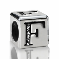 4.5mm Sterling Silver Alphabet Bead Letter F