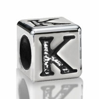 4.5mm Sterling Silver Alphabet Bead Letter K