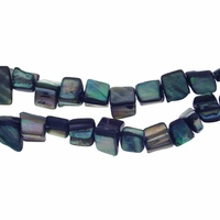 Blue 8x6mm Natural Nugget Mother of Pearl  Beads 16 Inch Strand