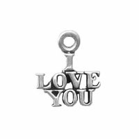 Sterling Silver Small I Love You Charm