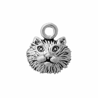 Sterling Silver Small Cat Face Charm