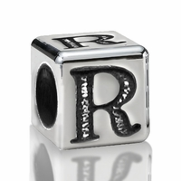 4.5mm Sterling Silver Alphabet Bead Letter R