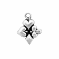 Sterling Silver Small Card Suite Charm