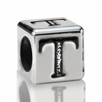 4.5mm Sterling Silver Alphabet Bead Letter T
