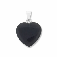 Black Obsidian 15mm Heart Gemstone Pendant