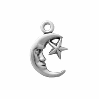 Sterling Silver Small Moon and Star Charm