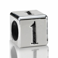 5.6mm Sterling Silver Alphabet Beads Number One 1