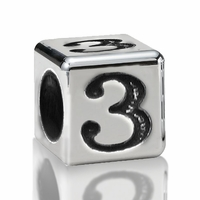 5.6mm Sterling Silver Alphabet Beads Number Three 3