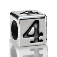 5.6mm Sterling Silver Alphabet Beads Number Four 4