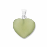 Olivine Jade 15mm Heart Gemstone Pendant