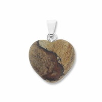 Picture Jasper 15mm Heart Gemstone Pendant