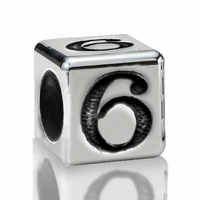 5.6mm Sterling Silver Alphabet Beads Number Six 6