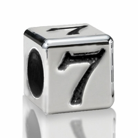 5.6mm Sterling Silver Alphabet Beads Number Seven 7