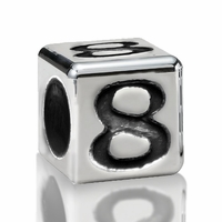 5.6mm Sterling Silver Alphabet Beads Number Eight 8