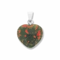 Unakite 15mm Heart Gemstone Pendant
