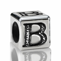 5.6mm Sterling Silver Alphabet Beads Letter B