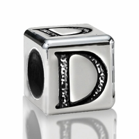 5.6mm Sterling Silver Alphabet Beads Letter D