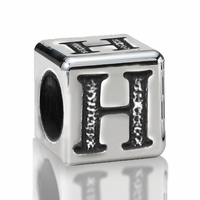 5.6mm Sterling Silver Alphabet Beads Letter H