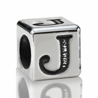 5.6mm Sterling Silver Alphabet Beads Letter J