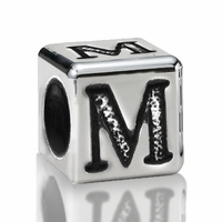 5.6mm Sterling Silver Alphabet Beads Letter M