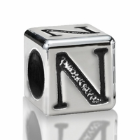 5.6mm Sterling Silver Alphabet Beads Letter N